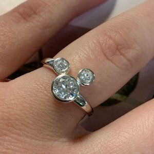 Silver CZ Mickey Mouse Ears Ring